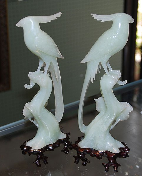 """15: Pr. Jade Carving of birds, 10"""" tall, on carved sta"""