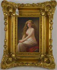 KPM plaque, 3/4 View of a Seated Nude with Drape,