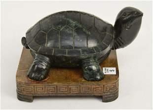 Large Jade carved Turtle on custom stand, turtle is
