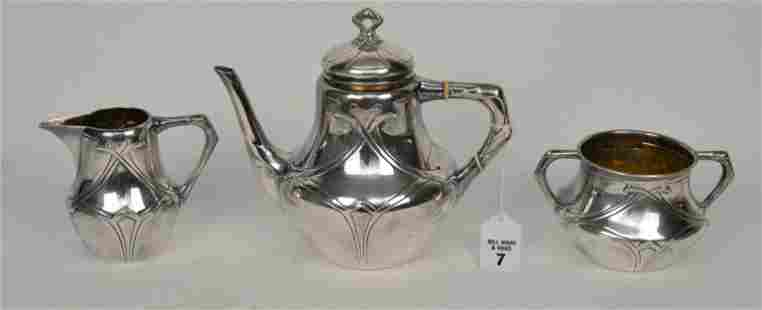 "3 piece Art Nouveau continental silver ""800"" Tea Set,"