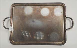 CHRISTOFLE DOUBLE HANDLED TRAY, silverplated overall