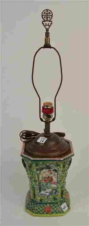 Chinese Export Porcelain Lamp, Famille Vert, 19th c,