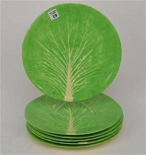 6 Vintage Dodie Thayer Leaf Plates, Signed, dinner
