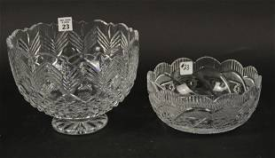 2 WATERFORD BOWLS, small bowl 8 inch diameter large