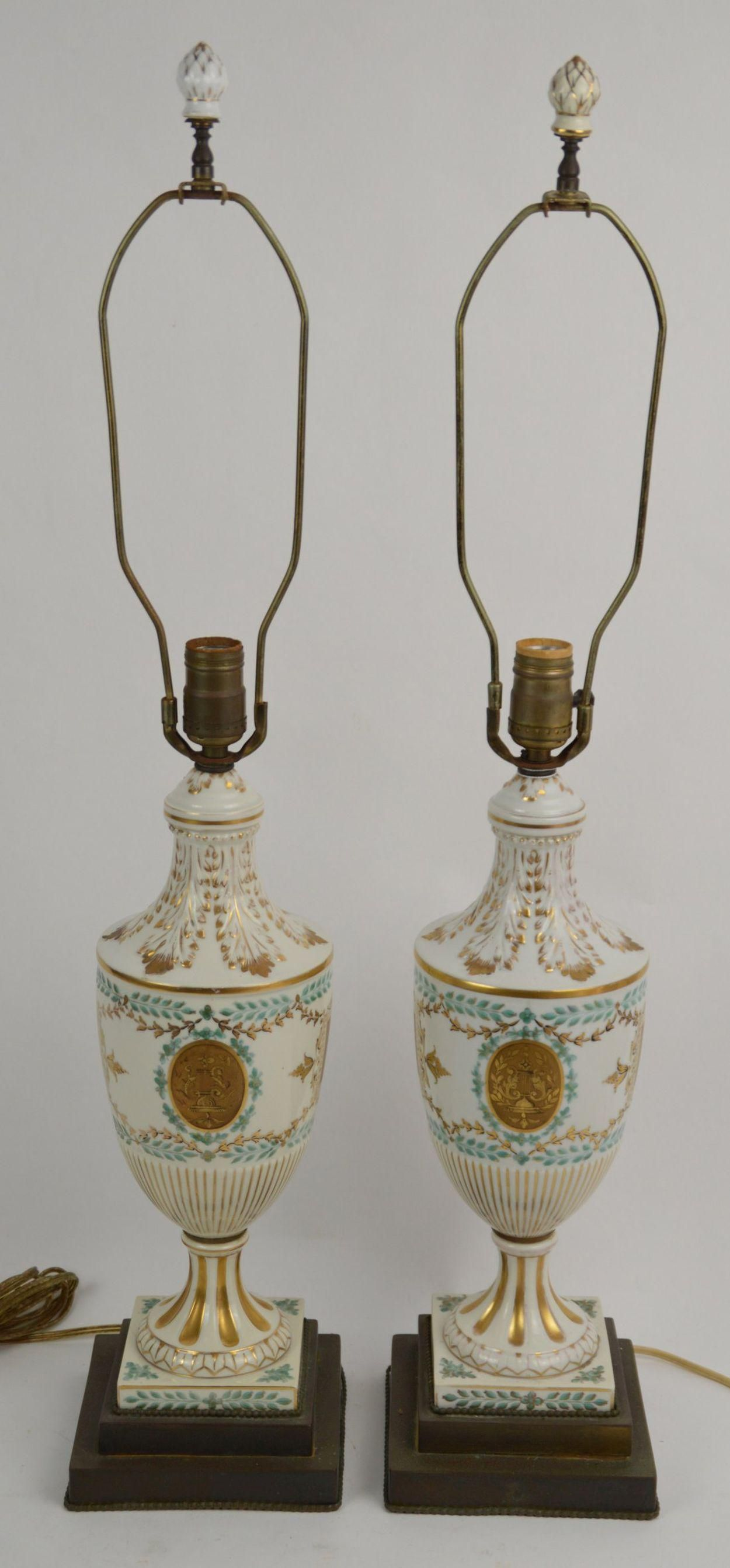 Pair French Porcelain Urn Shaped Lamps, White Ground