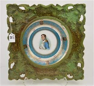 French Porcelain Portrait Plate, Napoleon, Turquoise