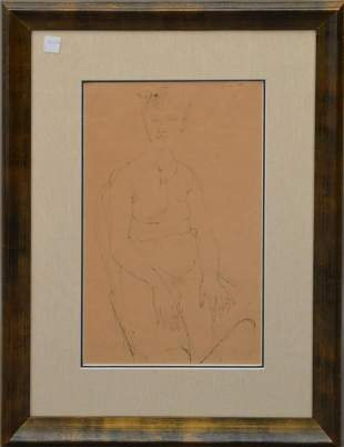 William Bailey (American, b. 1930) Drawing seated lady,