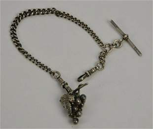 Victorian Sterling Silver Pocket Watch Chain with Grape