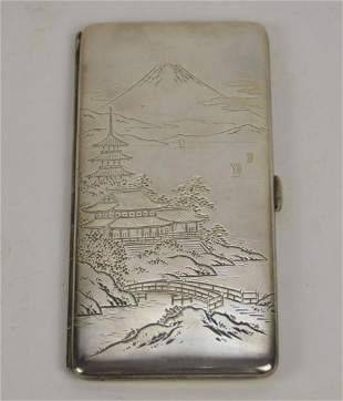 Sterling cigarette case with chinese etched landscape,
