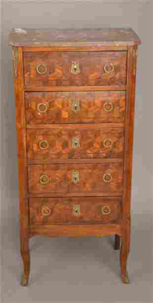French 5 Drawer Chest, Parquetry Drawer Fronts and Gilt