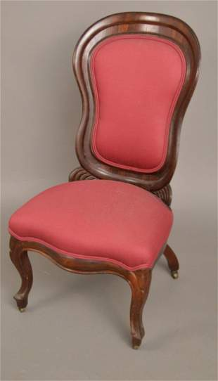 Antique Belter Style side Chair with pink upulstry