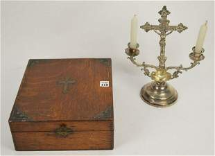 Vintage Catholic Last Rites Box. With candles, rosary,