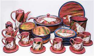30 PIECES MERCEDES MARIN COLUMBIAN HANDPAINTED POTTERY