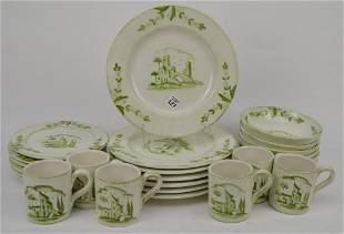 Italian Vietri Pottery Pcs, Incl; 7 Dinner Plates, 6