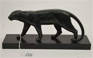 French Art Deco Bronze Panther Sculpture by