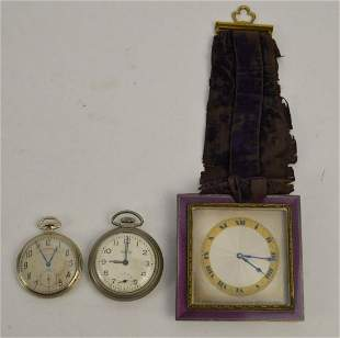 French Art Nouveau Travel Clock and 2 Pocket watches.