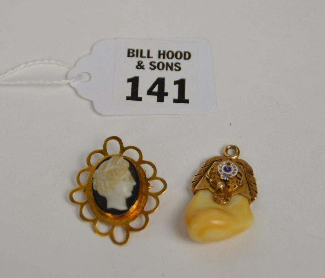 2 - 14K Yellow Gold Brooch & Pendant. 14K Cameo Brooch