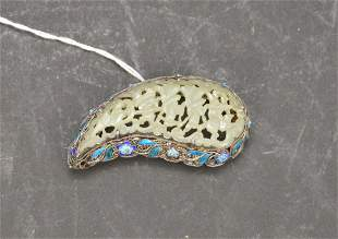 Chinese Export Silver Jade & Cloisonne Brooch - A tear