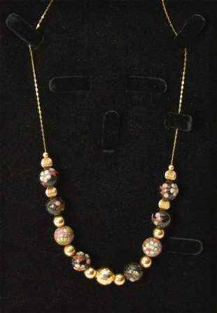 """14K Yellow Gold Necklace with Cloisonne Beads. 19"""" wt"""