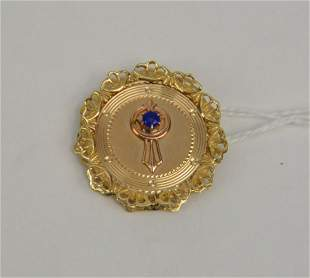 14K Yellow Gold Brooch with Sapphire. Weight 7.1 grams
