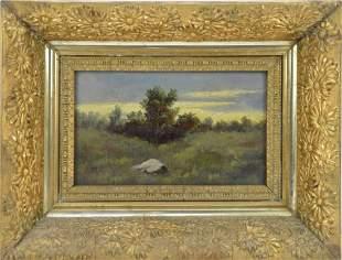 19th Century oil on artist board, 6 x 10 inches,