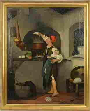 19th Century Italian School, oil on canvas, Interior -