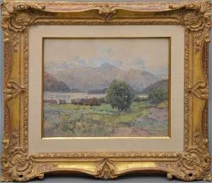 Fritz Lach (Austrian, 1868-1933) - Watercolor, Mountain