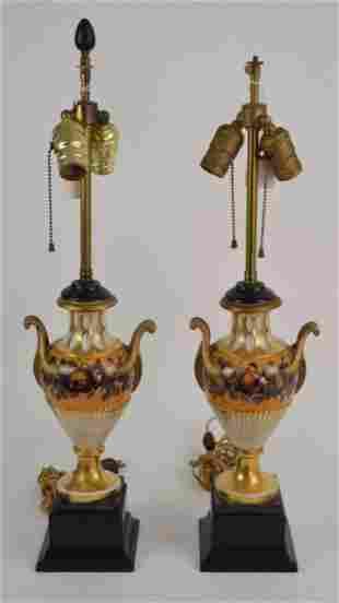 Pair of Old Paris Porcelain Urn-Form Lamps - each