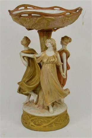 """Royal Dux """"Three Graces"""" Porcelain Compote Centerpiece"""