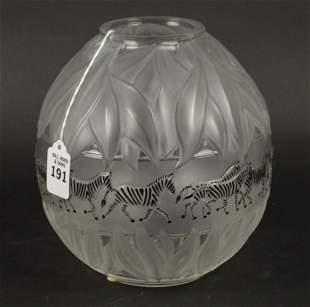 Lalique Crystal Tanzania Zebra Vase - Lalique France