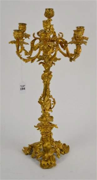Antique French Doré Gilt Bronze Candelabra - Ornate