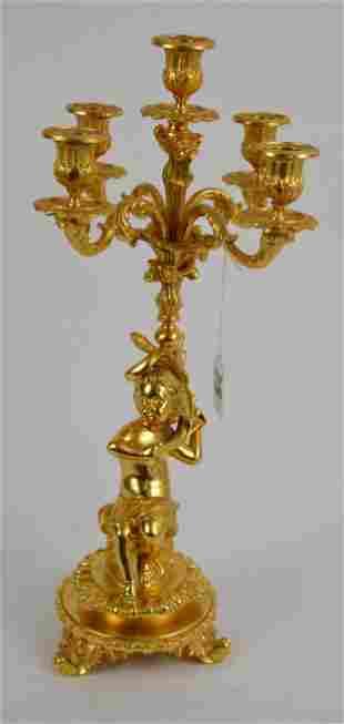 Antique French Doré Bronze Figural Putto Candelabra -