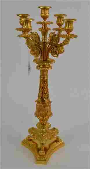 Antique French Empire Doré Bronze Candelabra - Fine
