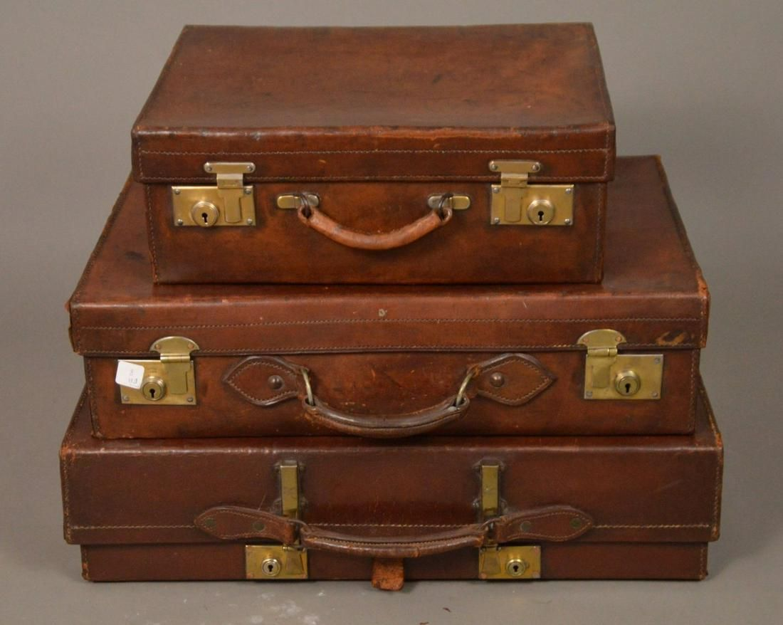 3 Vintage brown leather suitcases, lg. 26 x 17 x 6.5