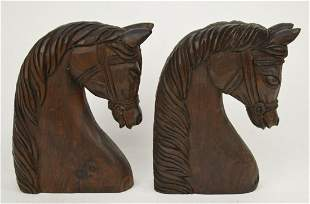 """Carved Wood Horse Heads, Made in Spain, 11""""h"""