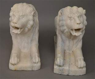"""Pair Vintage Carved Marble Lions, extremely heavy, 18""""h"""