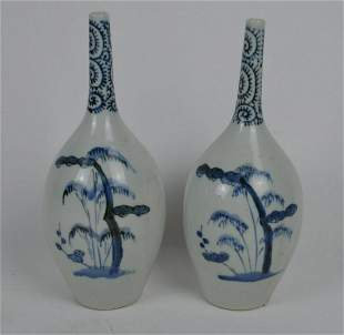 Pair of Chinese Blue & White Porcelain Long-Necked Bud