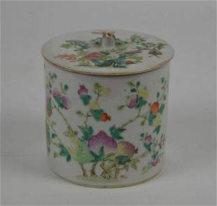 Chinese Famille Rose Porcelain Cylindrical Lidded Box -