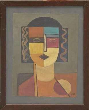 German School 1930's Oil on Paper Female Portrait,