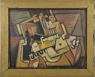 French School 1930's, Cubist Composition, Oil on Card,