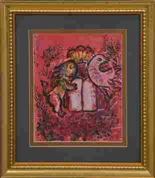 """Marc Chagall, Lithograph """"Ten Commandments,"""" 12"""" x 9"""