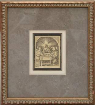 "Albrecht Durer Woodcut Engraving on paper, 5"" x 4"""
