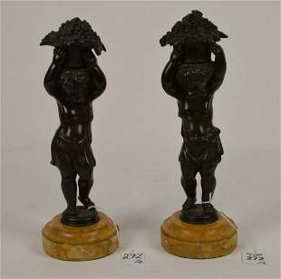 Pair of Patinated Bronze Bacchian Putti Figures - Each
