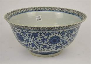 Large Chinese Blue & White Porcelain Bowl with
