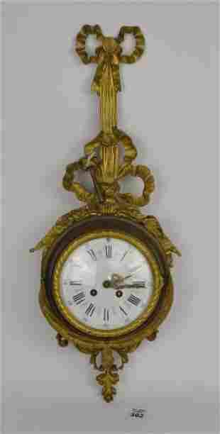 Antique French Second Empire Gilt Bronze Wall Clock -
