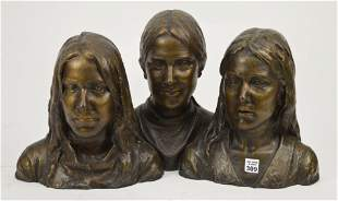 Vintage Signed Bronze Figural Bust Group - 20th