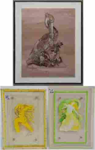 Three Lipsone Mid-Century Paintings on Acrylic - each