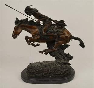 "After Remington ""Cheyenne"" Large Bronze Sculpture -"