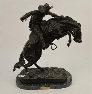 "After Remington ""Bronco Buster"" Large Bronze Sculpture"