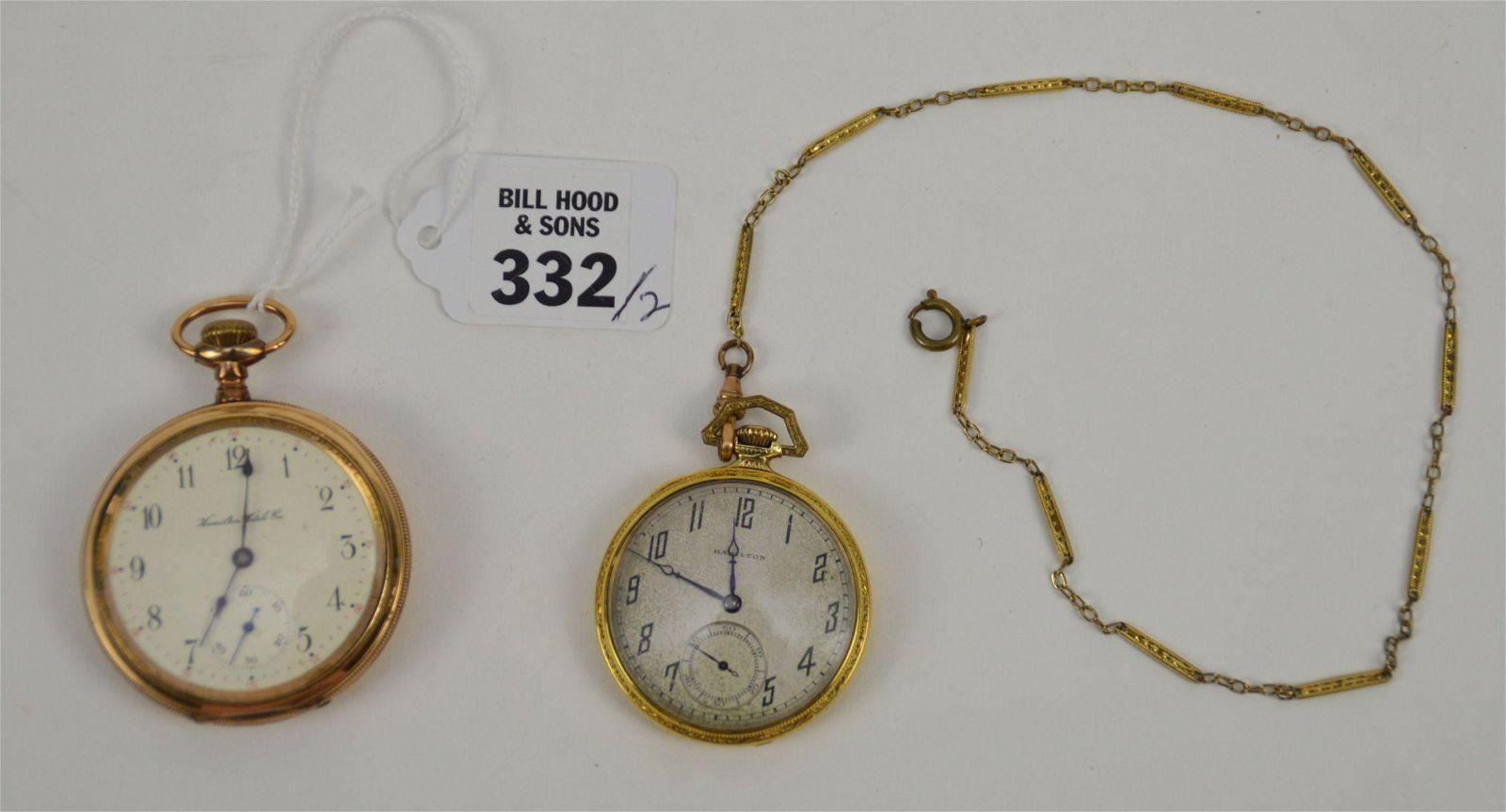 2 Hamilton Gold Filled Pocket Watches. Hamilton Watch